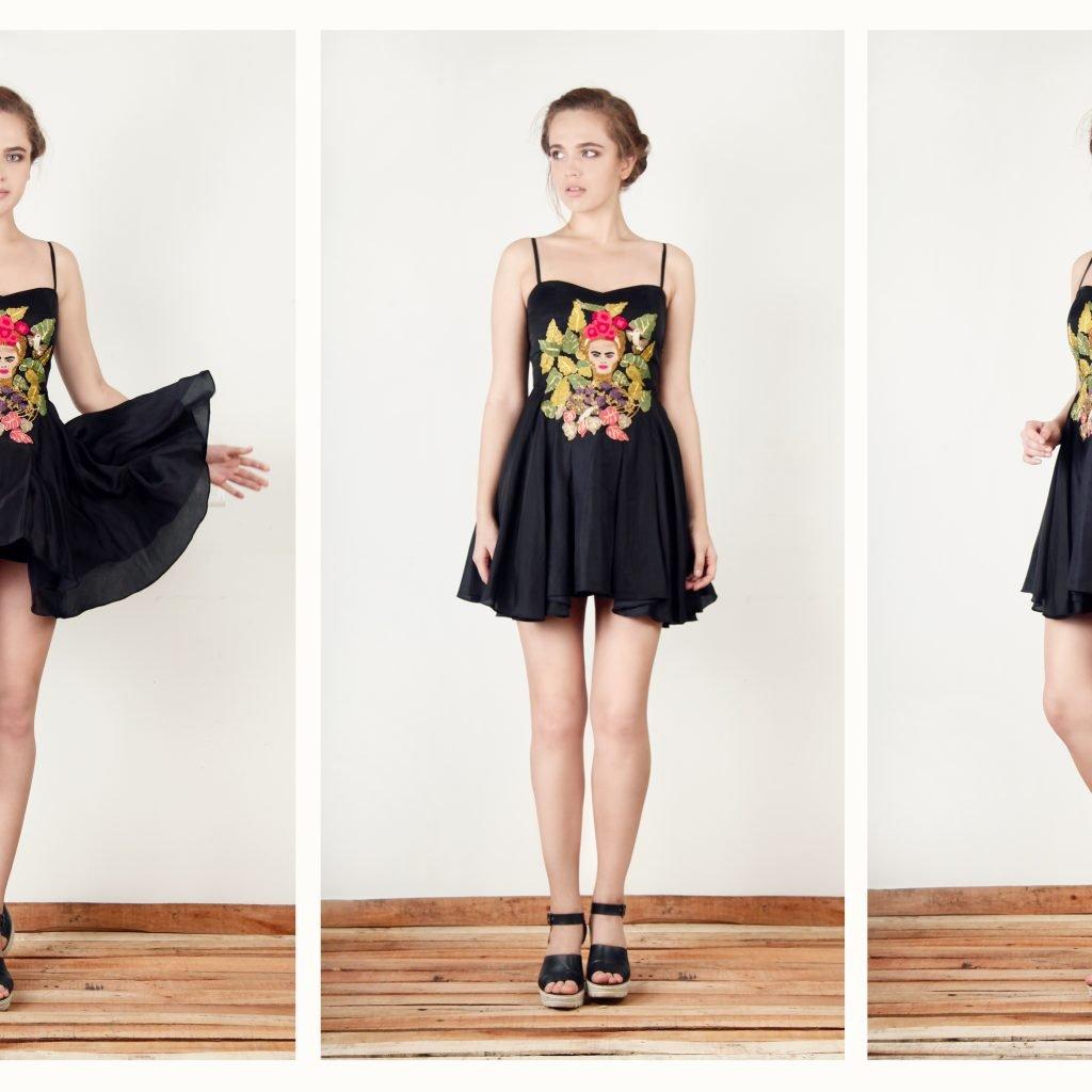 Black frieda short dress